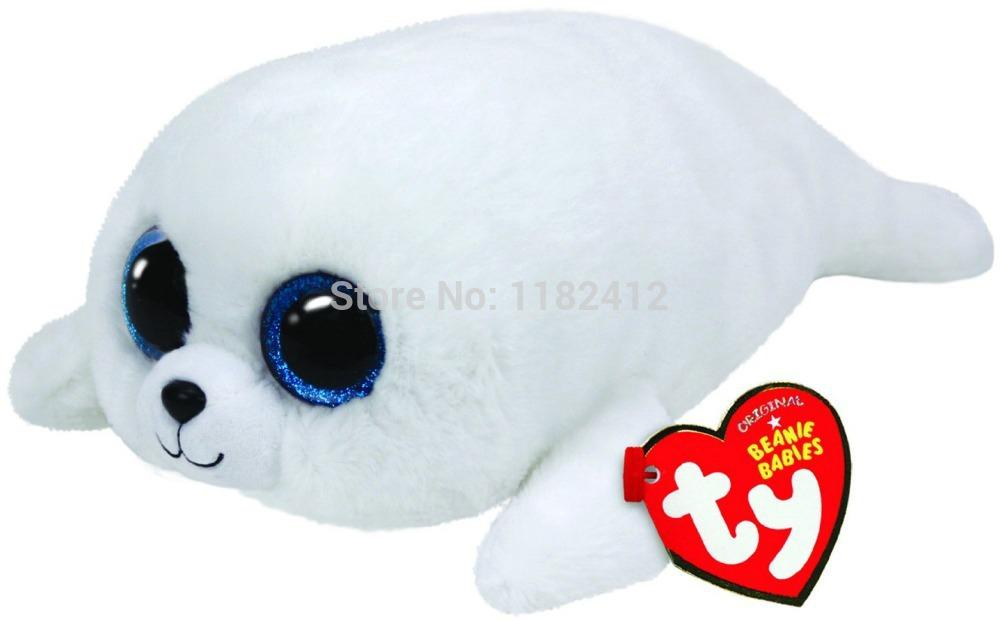 Wholesale-New TY Beanie Boos ICY White Seal Plush Animals 6   10 ... 3f09f692478