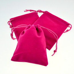 Wholesale Hot Candy Mp3 - Wholesale-50pcs lot Hot Pink Color Velvet Bags 7*9cm Pouches Jewelry MP3 Coin Packing Bags Candy Wedding Gift Bags Free Shipping