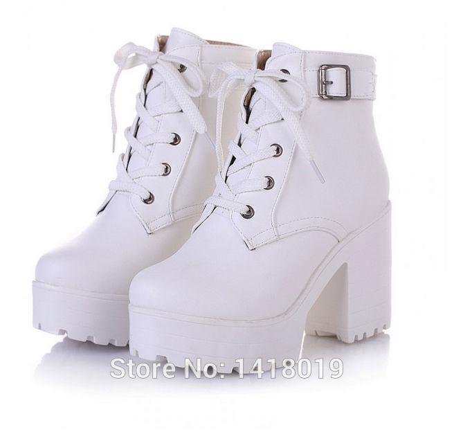 0d1f8059822 Wholesale-NEW HOT Womens Punk Chunky Heel Platform lace Up Buckle Strap  Ankle Boot Shoes black white beige big yard