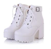 bottes lacées à boucle noire achat en gros de-Vente en gros-NEW HOT Womens Punk Chunky Heel Platform lace Up Buckle Strap Ankle Boot Chaussures noir blanc beige grande cour