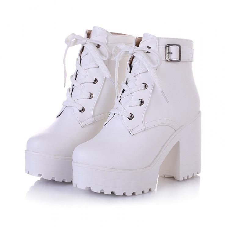 huge selection of catch shoes for cheap Wholesale NEW HOT Womens Punk Chunky Heel Platform Lace Up Buckle Strap  Ankle Boot Shoes Black White Beige Big Yard Cute Shoes Boots From  Fenghuangmu, ...