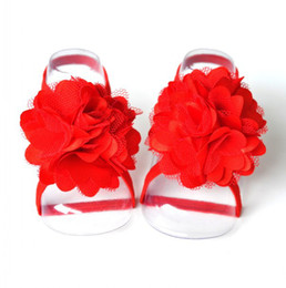 Wholesale Order Baby Sandals - Wholesale-Trial Order Barefoot Baby Sandals with thin Elastic and sigle flower , Girl Baby Shoes, Baby Accessories 20pair lot QueenBaby