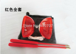 Wholesale Diabolo String - free shipping 1pc New Chinese YO YO 3 Bearing Diabolo Set Metal Sticks Transparent Blue Purple red and orange String bag