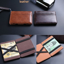 Magic wallets online shopping - New arrival High quality leather magic wallets fashion designer men wallets money clip retail and FGS05