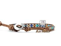 Wholesale Leather Bracelet Manufacturers - Wholesale-New Trendy Leather Wrap Bracelet Mixed Natural Stone Handmade Bead Bracelets Manufacturer