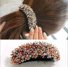 Wholesale Crystal Banana Barrette - Wholesale-2015 Korea style hot selling fashion design barrettes for women,female ponytail accessories,brand crystal hairpins Banana Clip