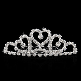 coronas de diamantes de imitación al por mayor Rebajas Al por mayor-Mini Twinkle Rhinestone Diamante nupcial princesa Crown Hair Comb Pinza de pelo Tuck Tiara Party Wedding