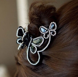 Wholesale Hairpin Rhinestone Gripper - Wholesale-1pcs 2015 hot butterfly flying rhinestone crystal hair jewelry hairpin hair claw gripper side-knotted clip A5086