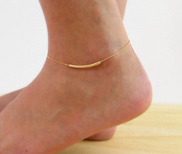 Wholesale Tube Curved Gold - Wholesale-Gold Filled Curve Tube Ankle Bracelet Layering Anklet Delicate Dainty Foot Chain Feet Jewelry Bracelet On A Leg