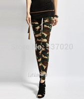 pantalons femme camouflage vert achat en gros de-Sexy Army Green Camouflage Imprimé Élastique Pantalon Slim Leggings Pantalon