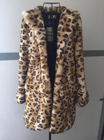 Wholesale Leopard Fur Button Jacket - Wholesale-Leopard Fur Jacket Women Fake Rabbit Fur Coat Parka Long Style Winter Outerwear Thick Fur SWF0065