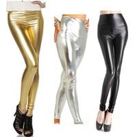 Wholesale Wet Look Black Pants - Plus Size High waist Shiny Wet Liquid Look PU Faux Leather Metallic Stretch Leggings Pants XS S M L XL
