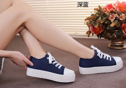 Wholesale Korean Flats Boots - Heighten Thick crust platform sneakers Canvas shoes Korean casual women boots to help low tide solid flat shoes women sneakers