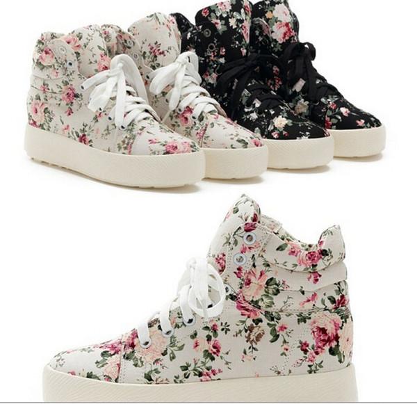 Heißer Verkauf 2015 Mode Damen Freizeitschuhe Turnschuhe Sommer Floral Canvas Schuhe TWWC14007 freies Verschiffen