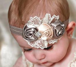 Wholesale Infant Headbands Retail - Wholesale-1 Pc Retail Infant Flower Headband Babies Pink Lace Hairband Toddler Baby Girls Felt Flower Headbands Free Shipping
