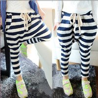 Wholesale Girls Collapse Harem Pants - Wholesale-NEW Baby Kids Girls Casual Collapse Pants Stripes Harem Pants Costume 2-7Y Dropshipping Freeshipping