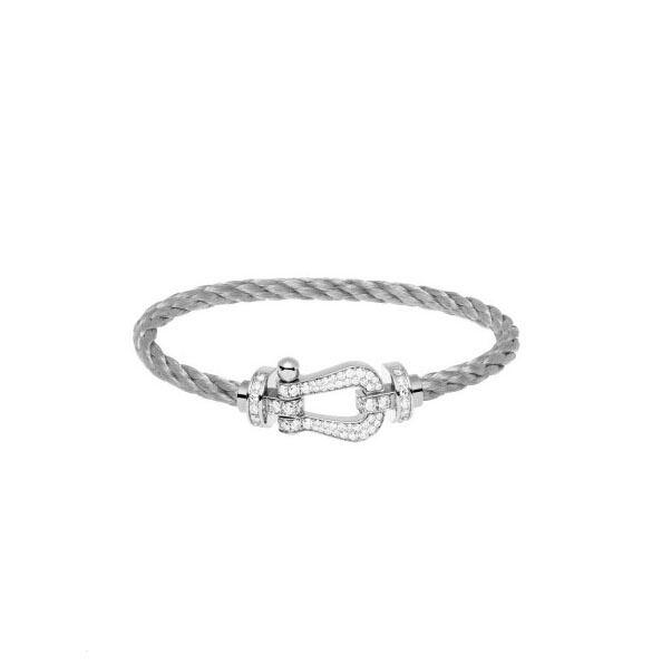 regarder 29bb2 a193d FRED FORCE 10 925 STERLING SILVER BELT BUCKLE BRACELET STAINLEEE STEEL  CHAIN WHITE GOLD BRACELET FOR FASHION WOMEN White Gold Charm Bracelet  Custom ...