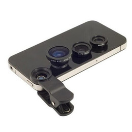 China Wholesale-2015 Universal Clip Contact Lense Fish Eye Lense+ Macro + Wide Angle for iphone Samsung S3 S4 N7100 HTC 3in1 free shipping supplier iphone clip eye suppliers
