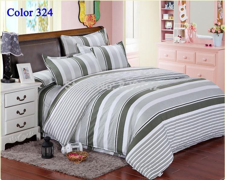 Cheap Men Stripe Bedding Set Duvet Cover Bedclothes Twin