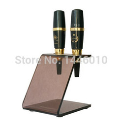 Wholesale Tattoo Pen Holder - Yuelong 2 PCS Brown Color Permanent Makeup Eyebrow Pen Cosmetic Machine Racks Stand Holder For Tattoo Supplies Free Shipping