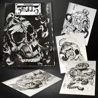 Wholesale Tattoo Sketches Flashes - Free Shipping 50 Pages Tibetan Skulls Series Skeleton Design Tattoo Art Book Flash Sketch New !!