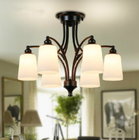 Wholesale Country Chandelier Shades - Wholesale-2015 CCC certified Creative Down Frosted Glass Lamp Shade Lustre Chandelier American Modern Country Simple Iron Chandelier