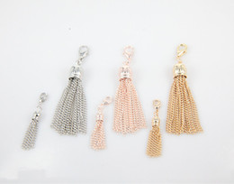 Wholesale Wholesale Gold Tassel Charms - Wholesale-2015 Newest Alloy Tassel Dangle instantly dresses up Heritage Floating Locket for Mother's Day Silver Gold Rose Gold