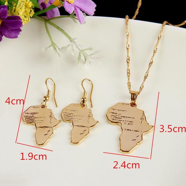 Conjuntos de joyas al por mayor-etíopes de África 18k Conjuntos de joyas de oro chapado Collar llamativo Pendientes colgante para boda africana