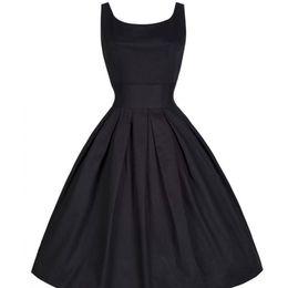 c8398bcc486 Gros-2015 d été Femmes Hepburn Robes O-cou noir Retro Casual Party Robe  Rockabilly 50s Vintage Vestidos Plus Size 9564