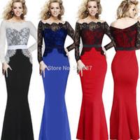 Wholesale Evening Dresses 4xl - Mermaid Long Lace Prom Dresses Elegant Vintage Women Patchwork Formal Ball Evening Party Maxi Vestidos Plus Size q152