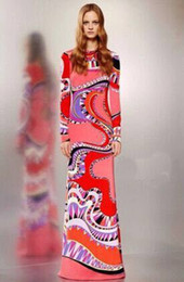 Nueva Italia Famosa marca con vestido de jersey de seda Vestido tubo Maxi impresionante geométrica abstracta del Impreso de manga larga desde fabricantes