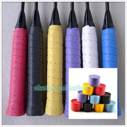 Wholesale High Quality Tennis Grips - Wholesale-High Quality Multi-Color Retail 1pc Tennis Badminton Fishing Rods Anti-slip Racket Handle Tape Overgrip Badminton Over Grip PU