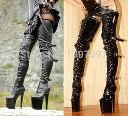 "Wholesale Women Black Knee Length Boot - Wholesale-58to85cm length Sex fetish Women black lace up 8"" high heel over the knee thigh high boots,sexy over the knee men buckle boots"