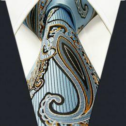 Wholesale Mens Extra Long Neckties - P3 Extra long size Paisley Blue Azure White Yellow Black Mens Neckties Ties 100% Silk Jacquard Woven Fashion