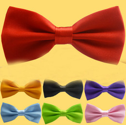 Wholesale Ascot Plain Colors - 2015 Fashion New Mens Pure Plain Multi Colors Bowtie Polyester Pre Tied Wedding Bow Tie More Colors Wholesale 0387