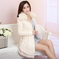 Wholesale Genuine Fox Fur Coat Jacket - Wholesale-New arrive 2015 winter fashion fox fur sheepskin medium-long with hooded down jacket thickening leather coat plus size M_XXXL