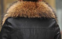 Wholesale Xxl Big Fur Collar Coat - Wholesale-Free Shipping 2015 Spring Winter new Korean female Pu Leather Jackets,Real Raccoon fur collar Coat Big size M L XL XXL XXXL