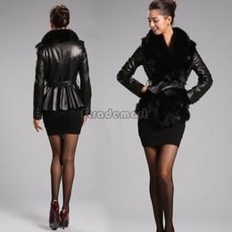 Wholesale B2 Leather Jacket - Wholesale-New Women's Fashion Long Sleeve Synthetic  Faux Leather Warm Faux Fur Jacket Coat Parka Outerwear With Belt B2# 41