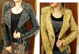 Wholesale Leather Jacket Woman Spikes - Wholesale-2015 Women Zipper Black glod Punk Strong Spike Rivet Studded Shoulder Snake Pattern PU Leather Jacket Coat autumn streetwear LL1