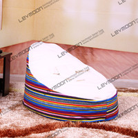 Wholesale Baby Bean Bag Covers - Wholesale-FREE SHIPPING childrens bean bag pouffe cover with stripes prints velvet baby beanbags via China post air mail without filling