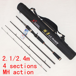 Wholesale Daiwa Carbon Rod - Wholesale-Free Shipping 4 Sections 2.1m 2.4m 7ft 8ft MH Action Carbon Lure Fishing Rod Strong Bait Casting Rod Okuma Daiwa Tackles