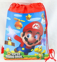 Wholesale Super Mario Drawstring Bags - Wholesale-2015 Hot Sale,20Pcs Super Mario Bros backpacks,Kids Cartoon Drawstring Backpack bags,School Bags,,34*27cm,non woven,kids gift