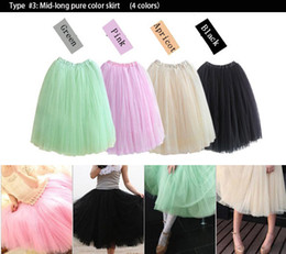 Wholesale Girls Layered Skirts - Women Ladies Girls Adult Dancing Long Tutu Layered Organza Lace 2 layers Candy Color Petticoat Knee-length Ball Party Skirt