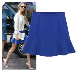 Wholesale Chiffon Skirt L - 2015 New Fashion Women Spring and Summer OL Blue Solid Chiffon Bust Short Skirt Liadies Short Dresses S M L XL Direct Shipping