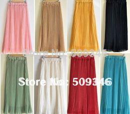 Wholesale Long White Straight Skirt - 2015 Fashion Women Girls Chiffon Long Pleated Skirt Spring Summer Solid Circle Bridesmaid Drapped White Yellow Pink Aqua Green