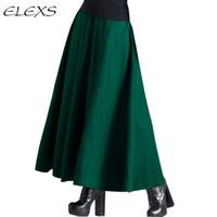 Wholesale Waist Hem Line - 2015 Fashion Skirt! Slim Empire Waist Big Hem Autumn and Winter Ankle-Length Woolen Women Skirts EF564