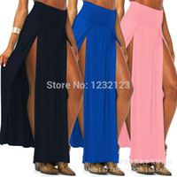 Wholesale Women Wholesale Slit Skirt - 2015 Good Colorful Popular Trends High Waisted Double Slits Sexy Women Maxi Skirt