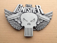 Wholesale Brushed Nickle - The Punisher Brushed Nickle Belt Buckle SWB10-15,free shipping
