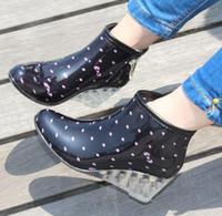 Wholesale Fashion Rain Boots Women - Wholesale-Women Wedges Fashion Rain Boots Female Short High-Heeled Boots Rain Shoes Rubber Shoes For Woman#S0128