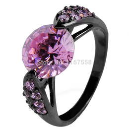 Wholesale 14kt Gold Sapphire Rings - Wholesale-Pink Sapphire Color Women Fashion Jewelry 14KT Black Gold Filled Zircon Finger RingsSize 6 7 8 9 10 High Quality RB0027-6-10